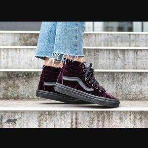 Vans sk8-hi reissue purple velvet shoes